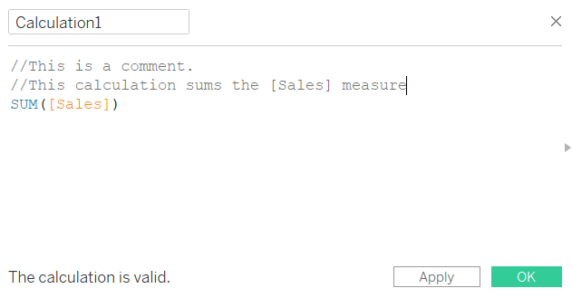 Double forward slash commenting a calculated field