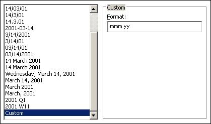set a custom format of mmm yy