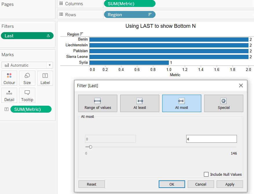 tableau bottom n using last function