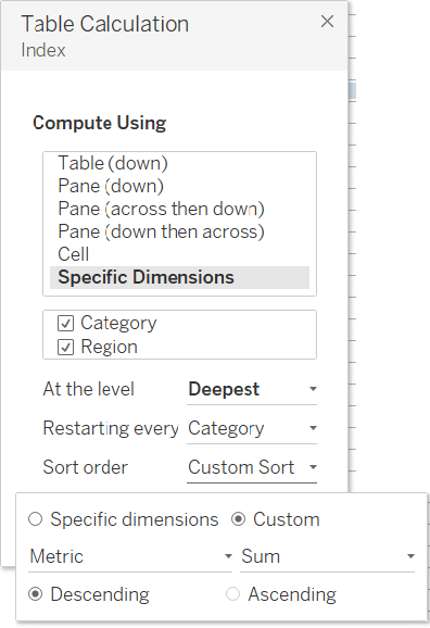 a Tableau table calculation with advanced settings
