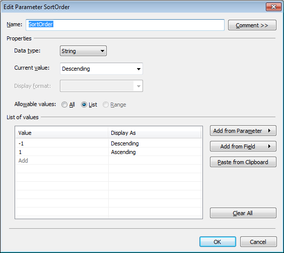 a Tableau parameter to choose the sort order