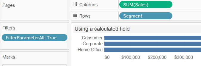 use a calculated field to add all to a tableau parameter
