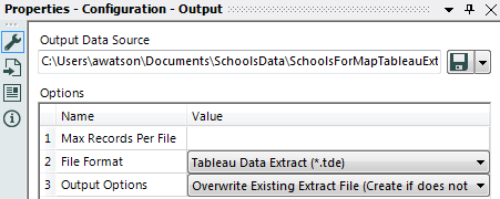Output the data to a Tableau Data Extract