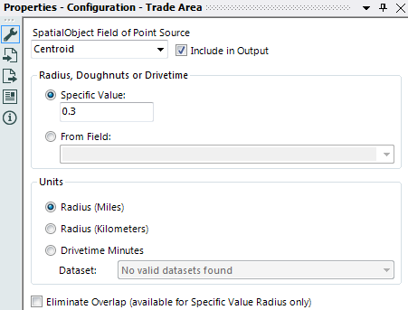 set the properties of the Alteryx Trade Area