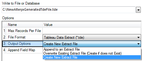 the settings to output a Tableau Data Extract or Hyper from Alteryx