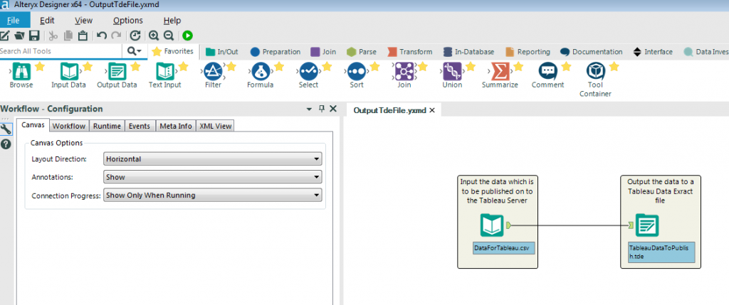 an Alteryx workflow that outputs a Tableau Data Extract or Hyper file