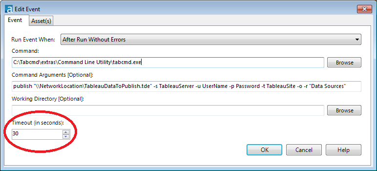 add the Command Arguments and Timeout sections of the Alteryx Event