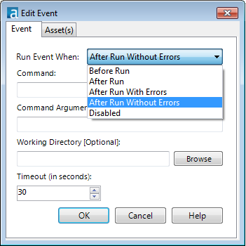set the Alteryx event to After Run Without Errors