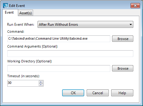 The filepath to tabcmd.exe is in the Command section