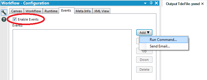 Alteryx configuration Enable Events and add Run Command