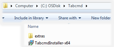 the tabcmd installer file in the tabcmd directory
