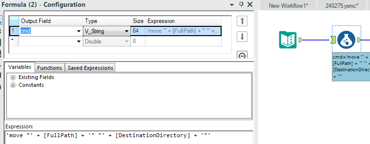 set up an alteryx formula tool to write the move command