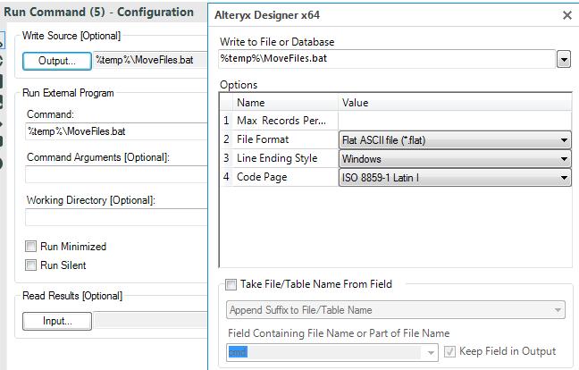 configure the Alteryx Run Command tool to create a bat file
