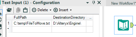alteryx text input tool configured with a file path and directory