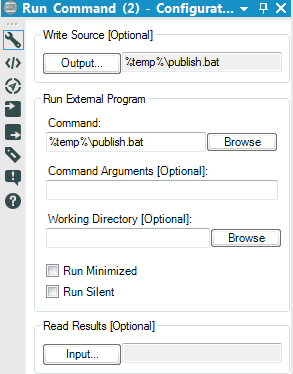 configure the Alteryx Run Command tool to publish to Tableau Server