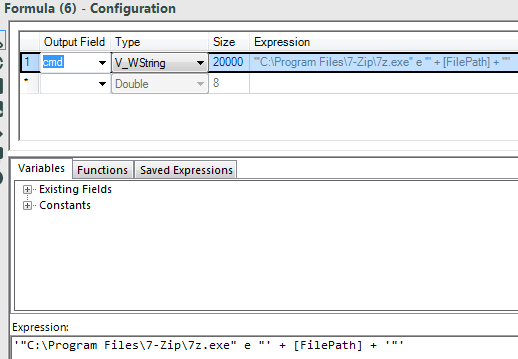 enter the unzip command line expression in an Alteryx Formula Tool