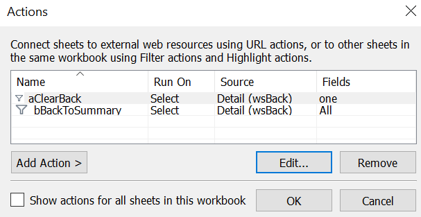 2 actions set up in the Tableau actions menu to reset the button and go back to Summary