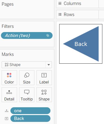 create a Tableau worksheet using a shape and text to create a blue back arrow