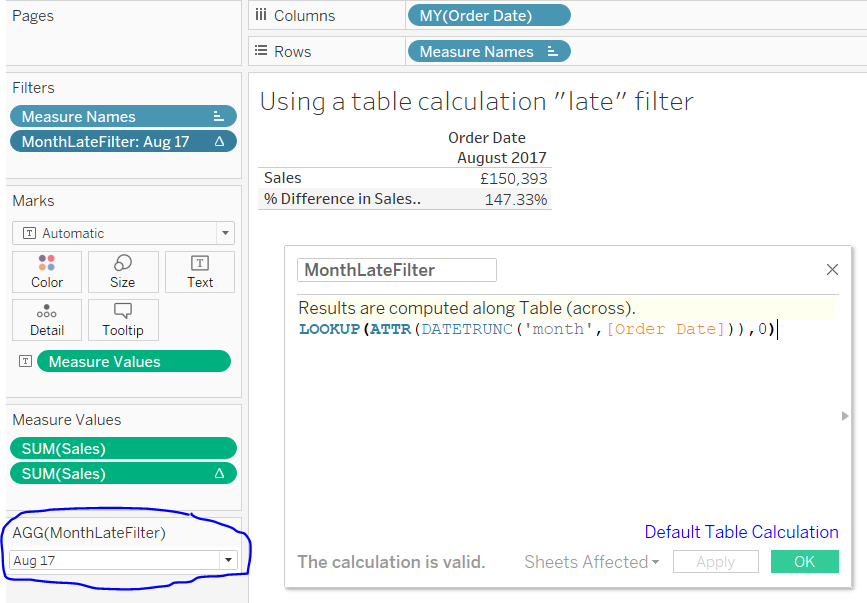 a Tableau calculated field to create a date late filter
