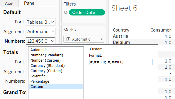 using a custom number format to set a zero to a dash in Tableau