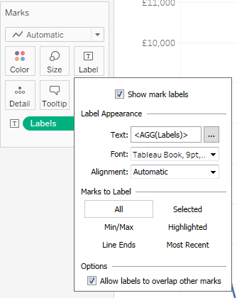 Tableau mark label showing the text from the Labels calculated field