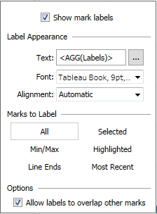 the label options in a Tableau line chart