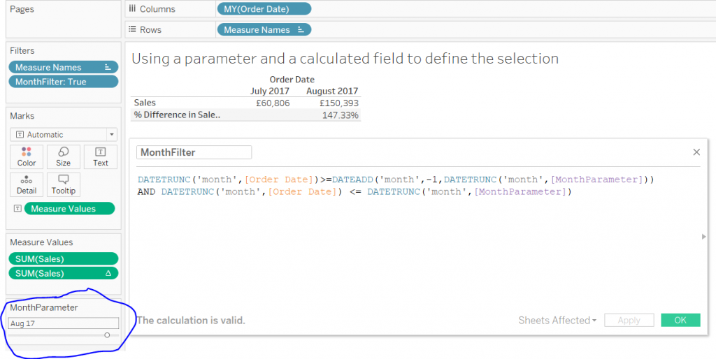 tableau calculated field using a parameter to filter for a month