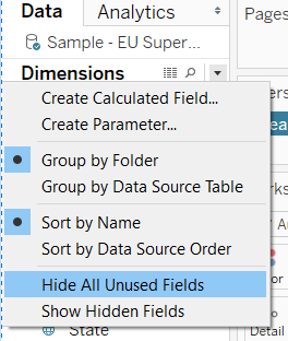 the data source menu to hide all unused fields