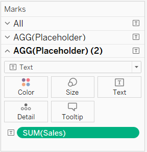 Set the mark types and content of each placeholder individually