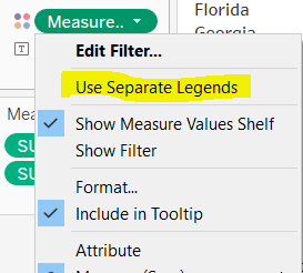 Choosing Use Separate Legends on the Measure Values colour shelf drop down menu