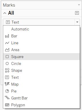 menu to change mark type to square