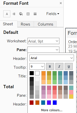 Set the Tableau pane font colour to white