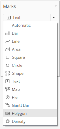 Change the Tableau mark type to Polygon