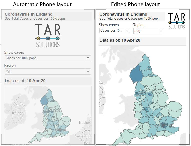 Comparing the auto Tableau phone view and an edited version