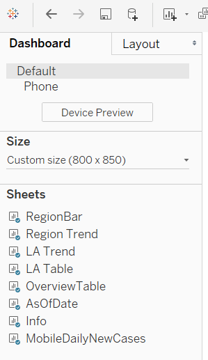 The default dashboard layout menu