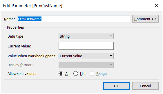 The settings of a Tableau string parameter to use as a wildcard