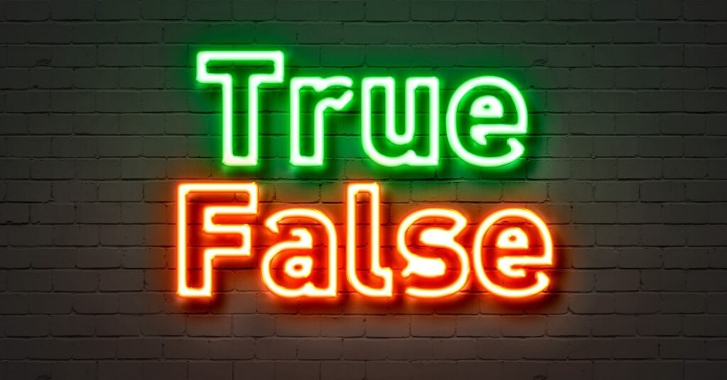 words true and false in neon lights