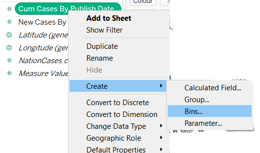 option to create bins from a tableau measure