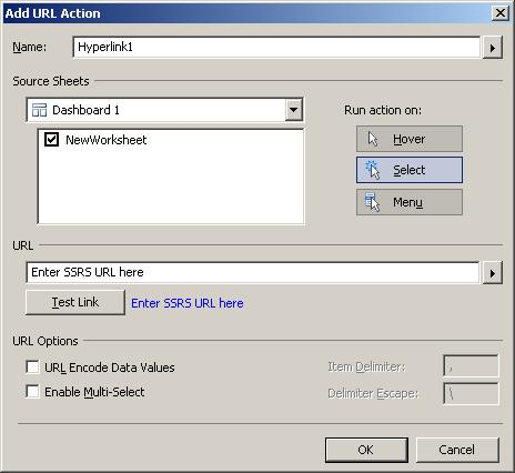 Create a Tableau URL action for the hyperlink