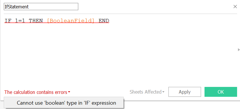 create the cannot use boolean type in if expression error