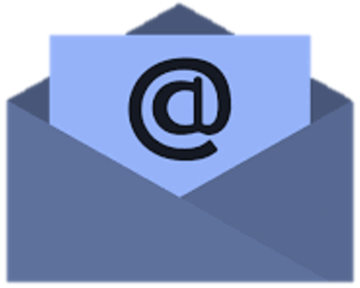 Blue envelope with blue letter inside representing email