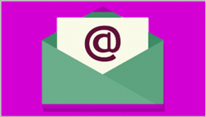 Open green envelope with white letter inside on purple background in Powerpoint Remove Background