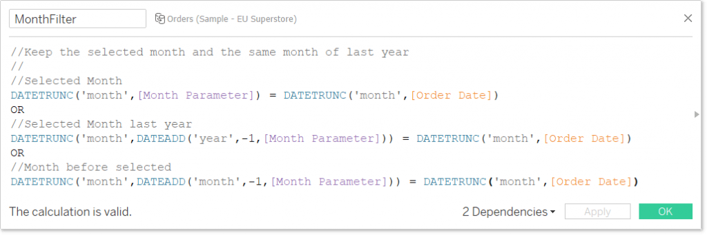 tableau calculated field keeping the chosen month, last month and the same month last year