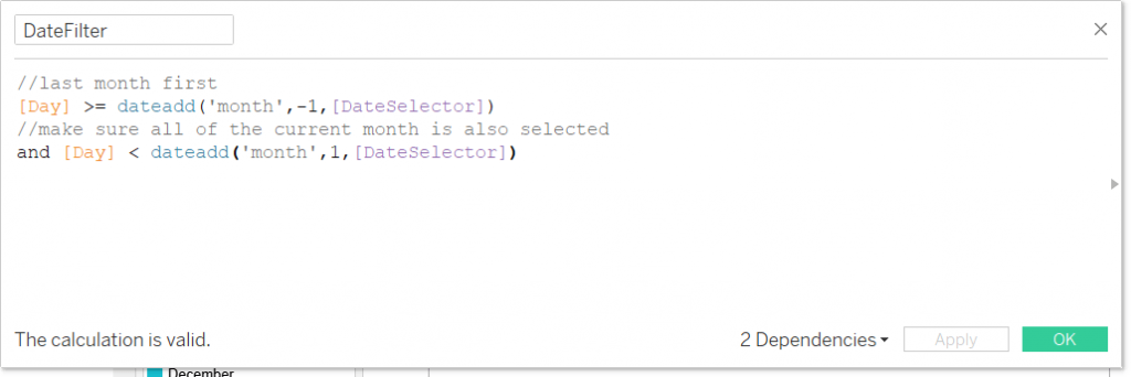 tableau calculated field using a parameter to select a custom date range