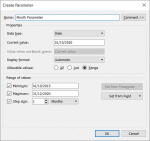 create a date parameter in tableau setting a range