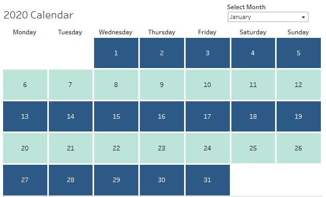 Calendar in Tableau showing January