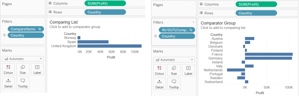 2 tableau bar charts side by side for choosing comparing items