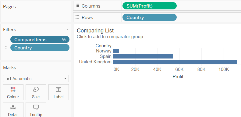 Tableau bar chart with a set as a filter