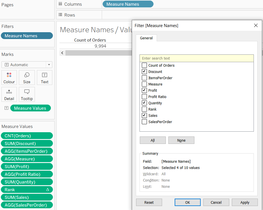 Filter Tableau Measure Names