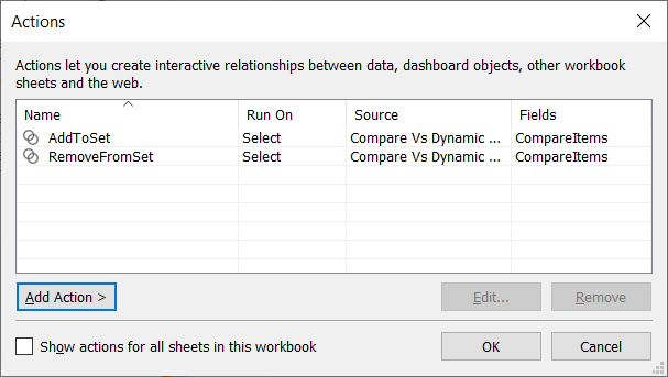 2 set actions listed in the Tableau action dialog box